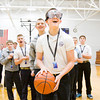 Seventh-grader James Hoke, 13, Floyds Knobs, prepares to shoot a free throw while wearing drunk goggles during an event facilitated by Indiana Students Against Destructive Decisions at Our Lady of Providence Junior-Senior High School in Clarksville on Monday afternoon. Staff photo by Christopher Fryer