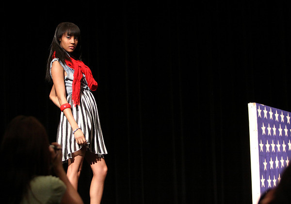 Jeffersonville High School fashion club member Taylor Blackmon holds a pose on the runway during a fashion show Wednesday morning at the school. The show was a combined effort of the fashion club and advanced photo class members. Staff photo by C.E  Branham
