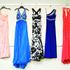 Dresses hang on display in the Cinderella Shoppe, where students can rent prom attire and accessories, at New Albany High School on Wednesday afternoon. Staff photo by Christopher Fryer