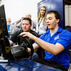 Senior Ian Schlosser, 18, Jeffersonville, operates a texting and driving simulator during an event facilitated by Indiana Students Against Destructive Decisions at Our Lady of Providence Junior-Senior High School in Clarksville on Monday afternoon. Staff photo by Christopher Fryer