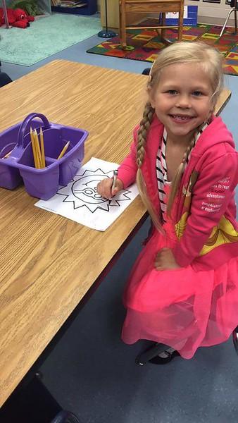 Ava Kindergarten first day 2017