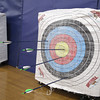 Ayer Shirley Regional High School has an new archery class being taught by Physical Education teacher Jamie Lamoreaux. A nice grouping of arrow at Wednesday afternoons class. SENTINEL & ENTERPRISE/ JOHN LOVE