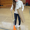 Junior Kaci Naughton, 16, Ayer Shirley Regional High School sets up for the new archery class being taught by Physical Education teacher Jamie Lamoreaux. SENTINEL & ENTERPRISE/ JOHN LOVE