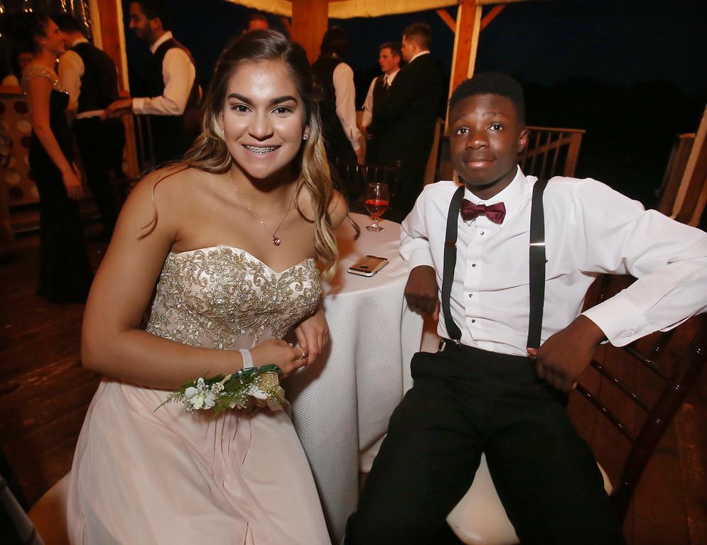 . Rhyschel Perez and Israel Komenan, both of Shirley, at Ayer-Shirley prom. (SUN/Julia Malakie)