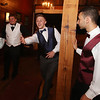 From left, Ryan Martone of Ayer, Mick Mitrano of Shirley, and Gabriel Lauar of Ayer, play cornhole at the Ayer-Shirley prom. (SUN/Julia Malakie)