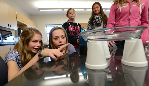 "Star Beltman, left, and Callie Smith, watch the movement of convection currents in a Horizon K-8  science class in the new wing of the school funded by a Colorado BEST grant.<br /> For more photos at the school, go to  <a href=""http://www.dailycamera.com"">http://www.dailycamera.com</a>.<br /> Cliff Grassmick  / November 9, 2012"