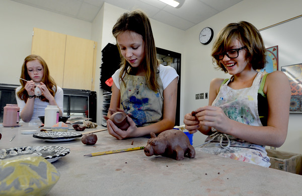 "Maya Parr, left, Alli Cooke, and Kaia Neely, all middle school students at Boulder's Horizons K-8, are working in an art room in the new wing of the school funded by a Colorado BEST grant.<br /> For more photos at the school, go to  <a href=""http://www.dailycamera.com"">http://www.dailycamera.com</a>.<br /> Cliff Grassmick  / November 9, 2012"