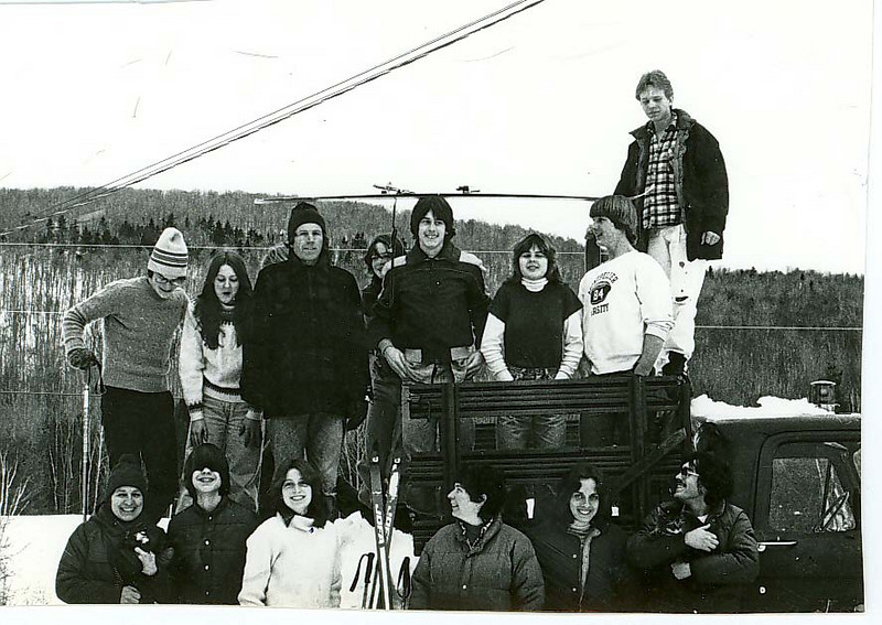 It was taken Winter of 79/80 (probably early 1980, while the SW expedition was out), and here's the lineup:<br />  <br /> Back Row, left to right:<br /> JP/Tamelyn/Bruce/Wil/Matthew/Lisa/? (He was a student, didn't finish the year, and I've forgotten his name)/Toby<br />  <br /> Front Row, left to right:<br /> Betsy/Skip/Mary/Janice/? (she visited that winter and taught cooking. Friend of Peter's?)/Kevin.