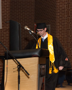 Daniel Chruscielski approaches the lecturn to lead a prayer.