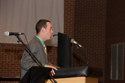 Josh deStiguer, Youth Director at Faith Presbyterian Church, gives the Benediction.