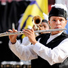 Don Knight |  The Herald Bulletin<br /> A flutist performs with the Anderson Marching Highlanders during Band Day at the State Fair on Saturday.