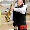 Don Knight |  The Herald Bulletin<br /> Noah Warriner performs a solo on saxophone as the Anderson Marching Highlanders performed during Band Day at the State Fair on Saturday.