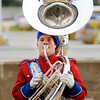 Don Knight    The Herald Bulletin<br /> Aaron Cruz plays the tuba as the Panther Band performs during Band Day at the State Fair on Saturday.