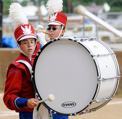 Don Knight    The Herald Bulletin<br /> Cameron Vest plays the bass drum as the Panther Band performs during Band Day at the State Fair on Saturday.