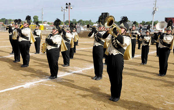"Don Knight |  The Herald Bulletin<br /> The Marching Bulldogs perform their show ""The Emotions of Life"" during Band Day at the State Fair on Saturday."