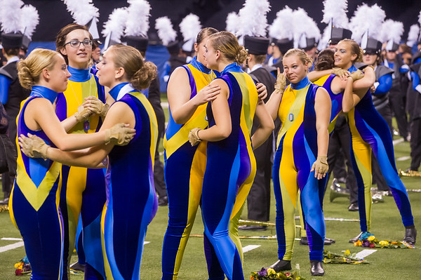 Lewis Cass Marching Kings color guard cry and hug one another after winning first place at the Indiana state band championships in Indianapolis on Saturday evening. Fran Ruchalski   Pharos-Tribune