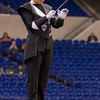 Lewis Cass Marching Kings drum major Luke Hammond conducts the band at the Indiana state band championships in Indianapolis on Saturday evening. Fran Ruchalski | Pharos-Tribune