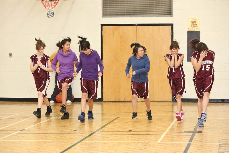 Basketball in Moosonee:  Moosonee Public School at home to Delores D. Echum from Moose Factory