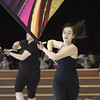 Chelsey Mathews, 15, with Billerica Memorial High School Winter Color Guard, practices at Hajjar Elementary School for upcoming competition in Dayton. (SUN Julia Malakie)