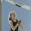 Sarah Richard, 14, with Billerica Memorial High School Winter Color Guard, practices at Hajjar Elementary School for upcoming competition in Dayton. (SUN Julia Malakie)