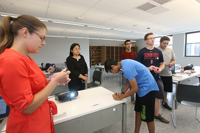 """Billerica High students competing for a InvenTeam Award get training on """"Design Thinking"""" from IBM employees. From left, IBM UX designer Erika Vargas of Townsend, and senior solution architect Florence Lu of Billerica, Billerica High rising sophomore Karan Rana, 14, and senior Vik Patel, 17, James Pope, 17, and Jacob Isaac, 17. (SUN/Julia Malakie)"""