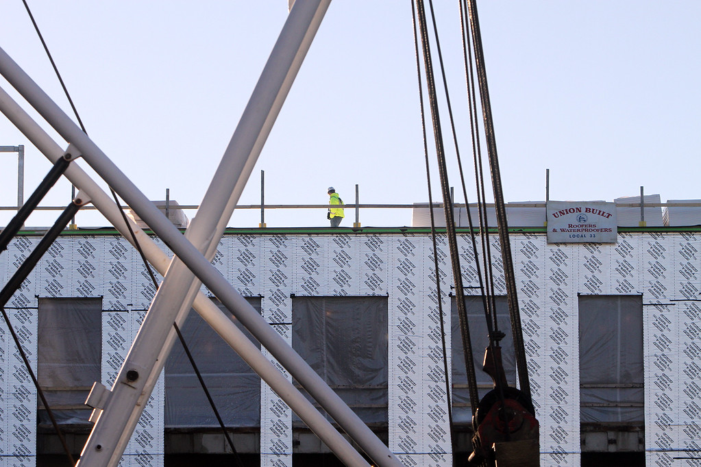 . Topping-off ceremony for the new Billerica Memorial High School.  (SUN/Julia Malakie)