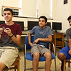 From left, Billerica High senior Cory Lafleur, 17, holding the medal he got, and sophomores Shashank Jarmale, 15, and Saketh Mynampati, 15, participated in STEM projects at MIT's Beaver Works Summer Institute. (SUN/Julia Malakie)