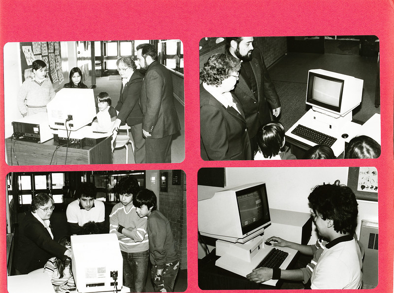 Bishop Belleau School Album 1984. Icon computer donated by Pope John Paul II. Principal Sister Audrey, Father Normand Brule and students.