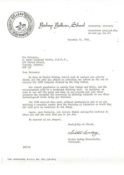 Bishop Belleau School Album 1984. Bishop Belleau School letter to Cardinal Carter for his role in selecting the school to receive the ICON computer donated by Pope John Paul II.