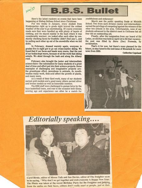 Bishop Belleau School Album 1984. Carol Birnie, Jan Davies.