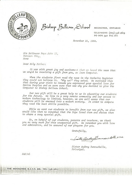 Bishop Belleau School Album 1984. Icon computer letter from principal Sister Audrey Dumouchelle about gift from the pope.