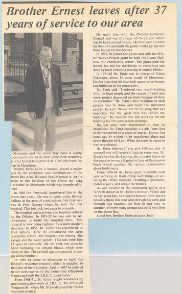 Bishop Belleau School Album 1984. Brother Ernest Beaudoin.