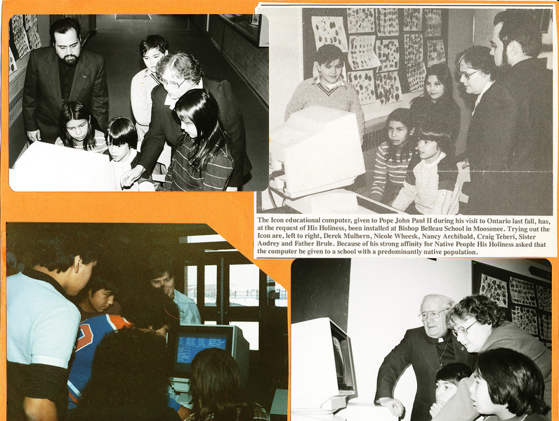 Bishop Belleau School Album 1984. Icon computer donated by Pope John Paul II after it was given to him during his 1984 visist to Canada. Derek Mulhern, Nicole Wheesk, Nancy Archibald, Craig Tiberi, Sister Audrey, Father Normand Brule. Bishop Leguerrier.