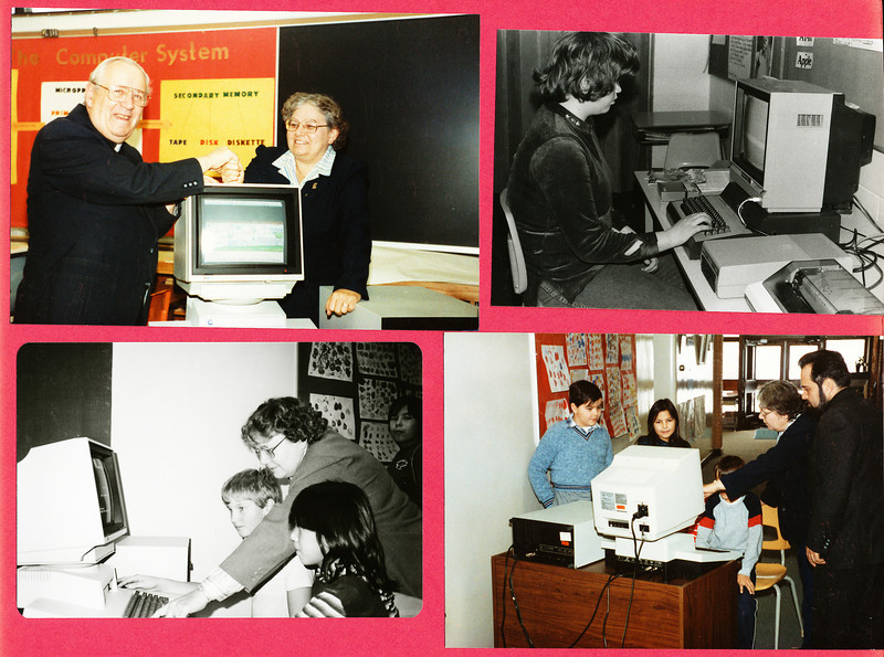 Bishop Belleau School Album 1984. Icon computer donated by Pope John Paul II. Bishop Leguerrier, Sister Audrey, Father Normand.