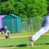 KRISTOPHER RADDER — BRATTLEBORO REFORMER<br /> Bennington's Chandler Pouk digs to get the ball to throw to first to get to get the runner out during an American Legion baseball game at Tenney Field, in Brattleboro, on Wednesday, June 12, 2019.