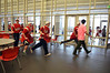 "Students rush to the gym for finale of ""Brave"" video shoot at Souderton Area High School.   Wednesday,   March 12,   Photo by Geoff Patton"