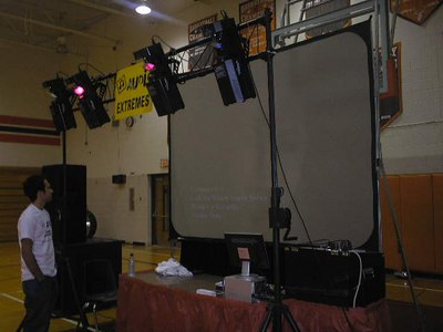DJ Adam checking out the setup before the dance Buckeye High Homecoming 2006