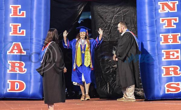 Bullard High School Valedictorian Bailey Bower leads the graduation procession at the school's graduation ceremony on Thursday, June 4.
