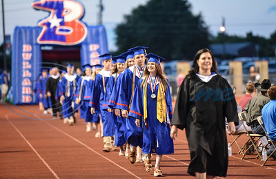 Bullard seniors smile while taking the field during the school's graduation ceremony. The celebration took place on Thursday, June 4 at Panther Stadium.
