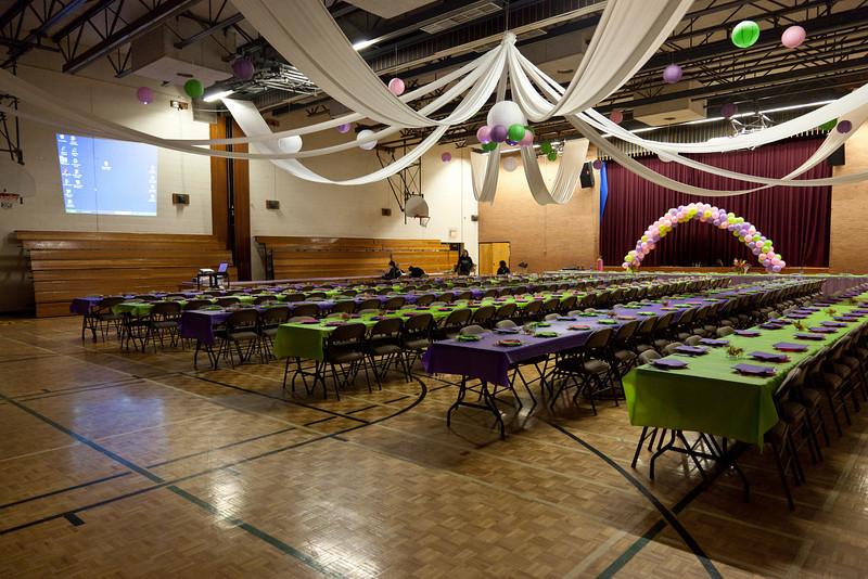 2010 June 11th-preparing James Bay Education Centre gym for dinner in honour of retiring Moosone Public School principal Carol Birnie.
