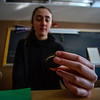 KRISTOPHER RADDER - BRATTLEBORO REFORMER<br /> Sheridan Lewis, Brattleboro Union High School student, looks over a cookie as she tries to figure out the circumference as they celebrate National Pi Day on Wednesday, March 15, 2017.
