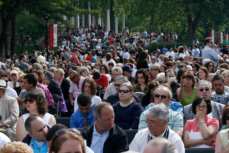 Thousands thronged the green at Rhode Island College for commencement.