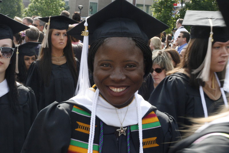 Sonnie wore white honor cords which signify her success (cum laude) and blue and purple cords of Kappa Delta Pi, the education honor society. She held many outside jobs to work her way through college.