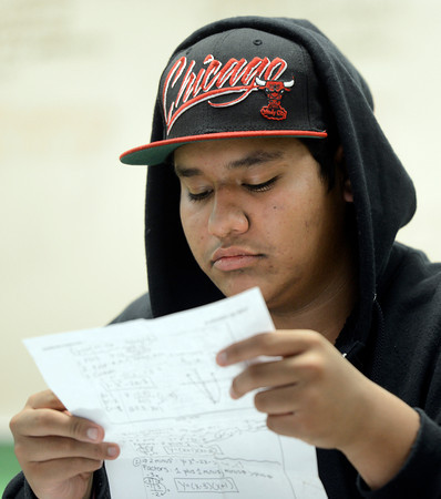 "Centaurus High School sophomore Anthony Solis studies before  a match test during an Algebra 1B class on Wednesday, Oct. 10, at Centaurus High School in Lafayette. For more photos of the class go to  <a href=""http://www.dailycamera.com"">http://www.dailycamera.com</a><br />  Jeremy Papasso/ Camera"