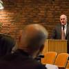 Goodrich Academy Principal Raymond Dewar speaks at a hearing against the International Academy of Montachusett Charter School on Thursday evening. SENTINEL & ENTERPRISE / Ashley Green