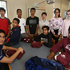 Combined Parker and McCarthy Middle Schools Knowledge Bowl team. From left, front: Prateek Motagi, Nithin Chandra, Ani Gopalan, and Arjun Lingala. Rear: Rishi Madivada, Avaneesh Mallela, Rishi Ajmera, Jonathan Domow, Divya Sambasivan and Hannah Wolmar. (SUN/Julia Malakie)