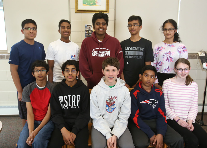Combined Parker and McCarthy Middle Schools Knowledge Bowl team. From left, front: Rishi Madivada, Ani Gopalan, Jonathan Domow, Nithin Chandra and Hannah Wolmar. Rear: Prateek Motagi, Avaneesh Mallela, Arjun Lingala, Rishi Ajmera and Divya Sambasivan. (SUN/Julia Malakie)