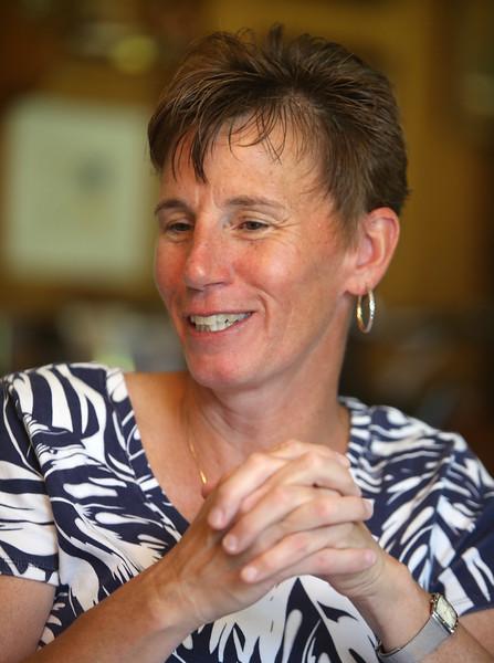 Chelmsford High School Alumni Association's new fundraiser, Heather Linstad, who is a CHS alum and CHS softball coach. (SUN/Julia Malakie)