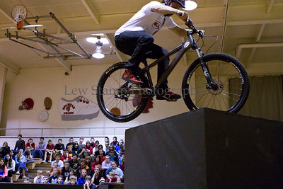 Spring Hill Junior High 7th and 8th grade students watched Chris Clark, a bicycle stunt rider jump up to higher platforms on Friday April 27,  2013, Springfield Township, Ohio.   Troopers from the Ohio State Highway Patrol and members of the Fraternal Order of Police lodge #157 have combined to cover the cost of the event. Lew Stamp Photography.