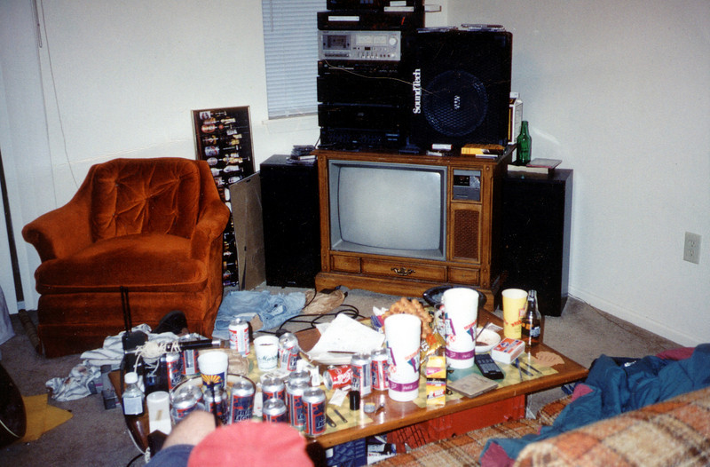The living room of our apartment at the beginning of my senior year (only 6.5 years after I started!)